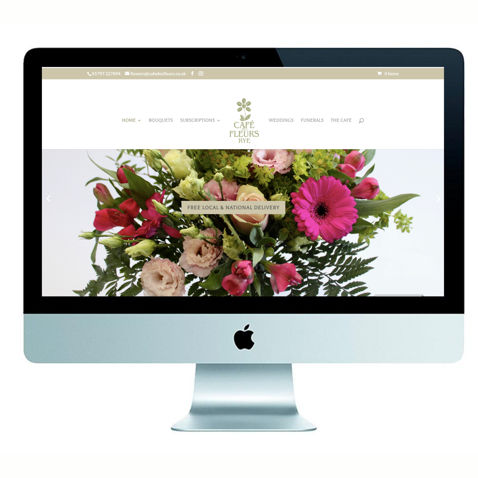 rockpool creative, marketing agency, kent, marketing agency east sussex, Rockpool portfolio Cafe des Fleurs, florist, local florist, florest Rye, subscription flowers, florist Kent, florist East Sussex